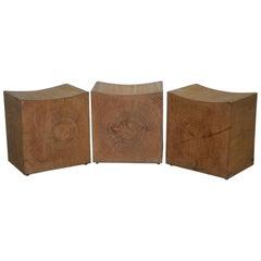 1 of 3 Riva 1920 Handmade in Italy Cedar Wood Stools Part Suite