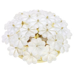 1 of 3 Stunning Murano Glass Flower Wall Light by Ernst Palme, Germany, 1970s