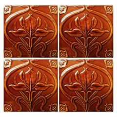 1 of 300 Art Nouveau Relief Tiles, Morialmé, circa 1930's