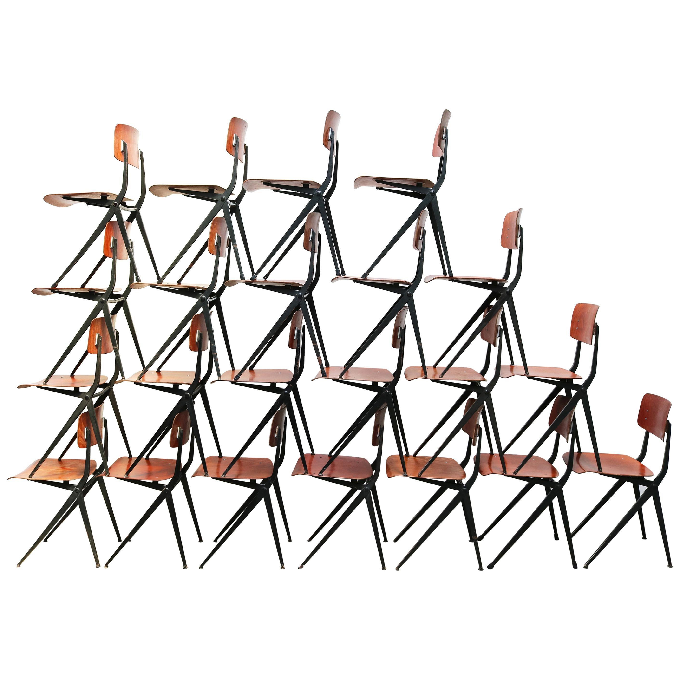 1 of 32 Dutch Marko Industrial Friso Kramer Design Dining Chairs Compass 1950