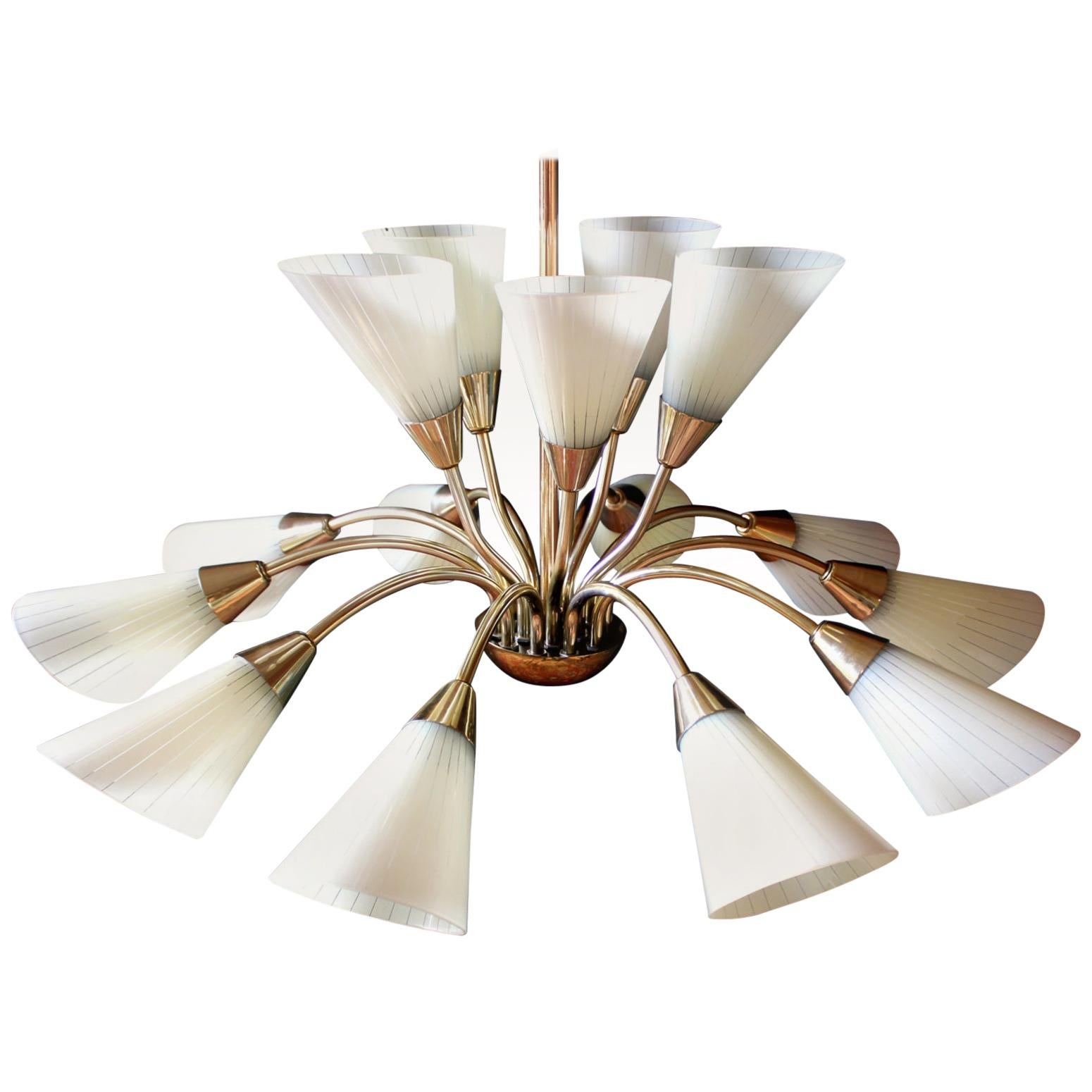 1 of 4 Brass and Glass Butterfly Chandeliers, Germany, 1950s
