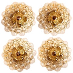 1 of 4 Helena Tynell Amber Bubble Flushmounts or Wall Sconces, 1960s