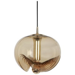 1 of 4 Large Smoked Glass Pendant Light by Peill & Putzler, Germany, 1970s