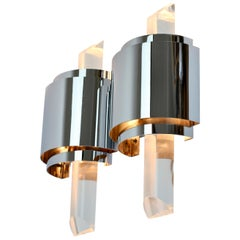 1 of 4 Large Vintage Hollywood Regency Lucite and Chrome Wall Lights or Sconces