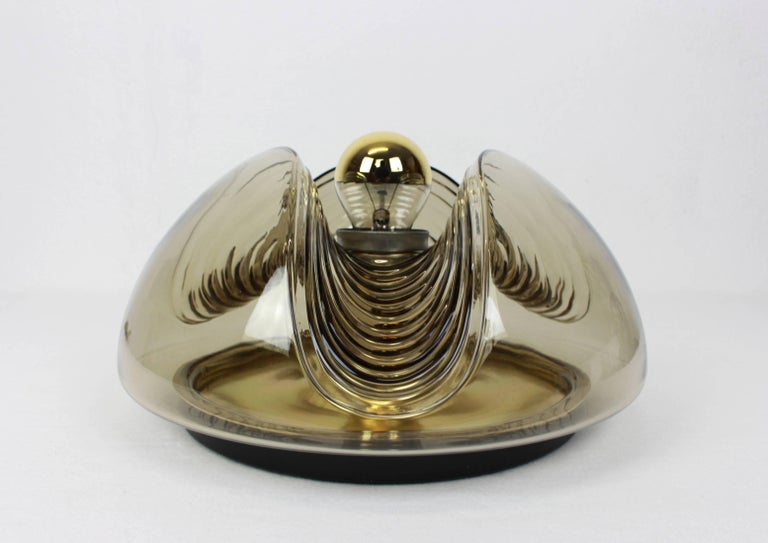 Smoked Glass 1 of 4 Large Wall Sconce Flush Mount, Koch & Lowy by Peill & Putzler, Germany For Sale
