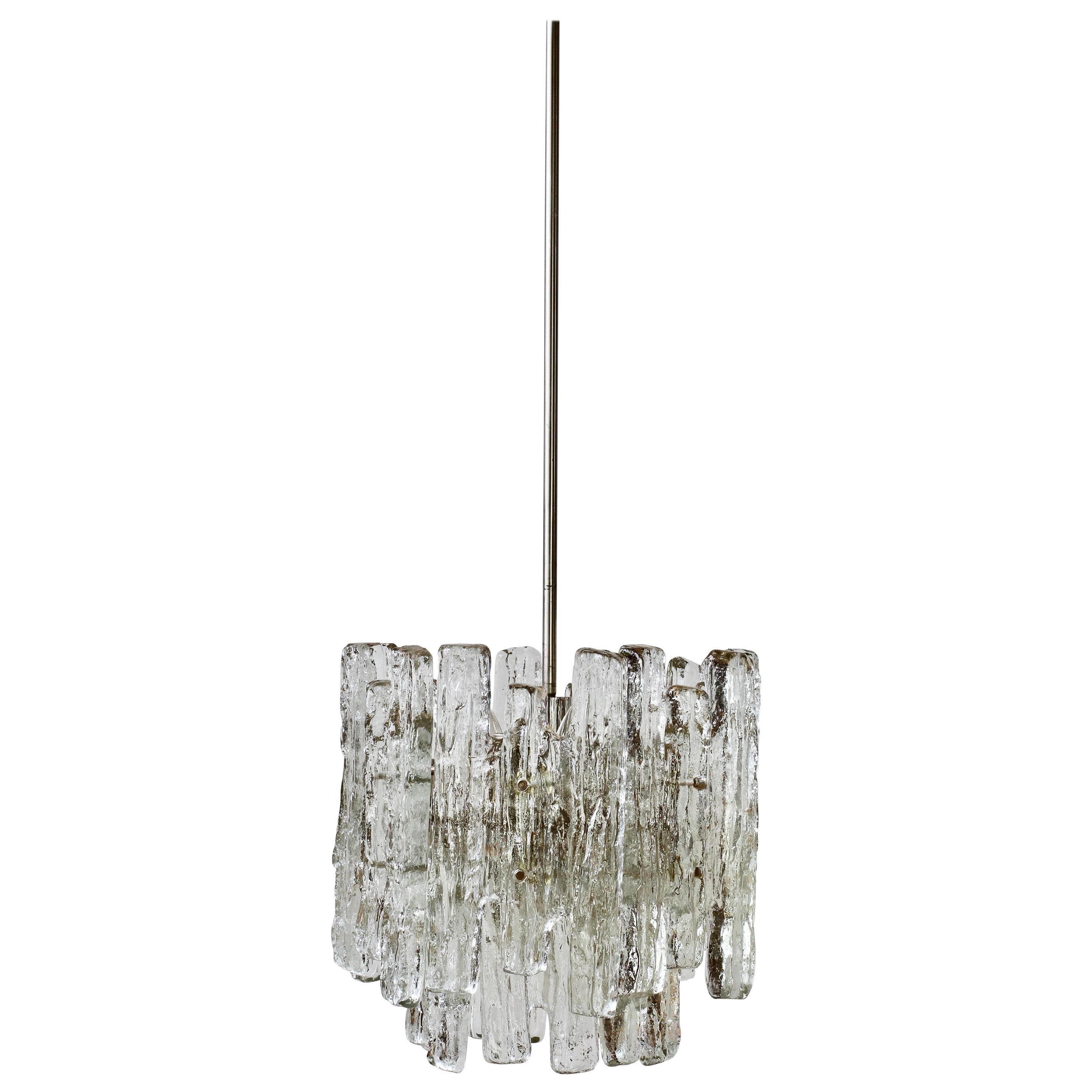 1 of 4 Mid-Century Kalmar Ice Crystal Glass Pendant Lights or Chandeliers