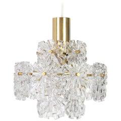 1 of 4 Stunning Pendants, Brass and Crystal Glass by Kinkeldey, Germany, 1970