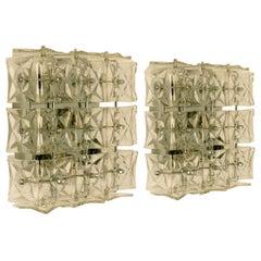 1 of 5 Kinkeldey Wall Lights/Flush Mounts, Nickel Crystal Glass, 1970s