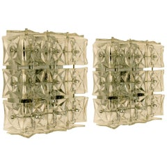 1 of 5 Kinkeldey Wall Lights/Flushmounts, Nickel Crystal Glass, 1970s