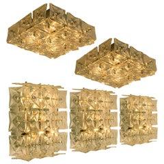1 of 5 Kinkeldey Wall Lights or Flushmounts, Nickel Crystal Glass, 1970s