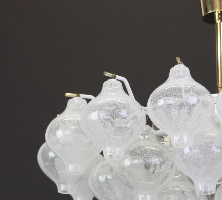German 1 of 5 Large Tulipan Glass Chandelier by Kalmar, Austria, 1960s For Sale