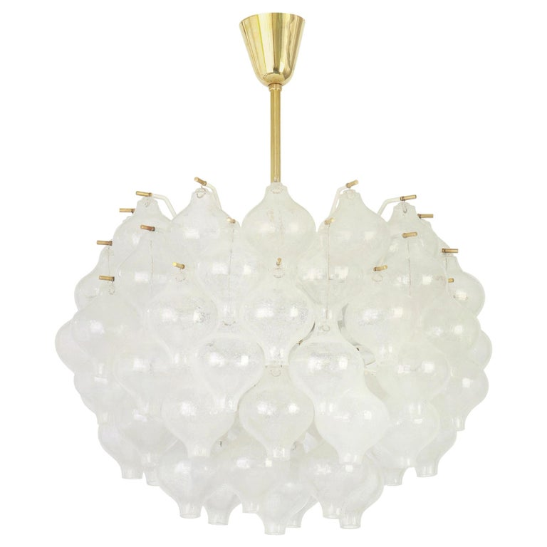 1 of 5 Large Tulipan Glass Chandelier by Kalmar, Austria, 1960s For Sale