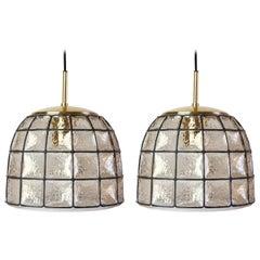 1 of 5 Limburg Black Iron, Glass and Brass Bell Pendant Lights, c.1965