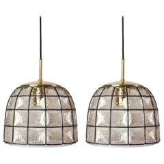 1 of 5 Limburg Black Iron, Glass and Brass Bell Pendant Lights c.1965