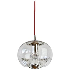 1 of 5 Peill & Putzler Biomorphic Clear Glass / Chrome Pendant Lights, 1970s