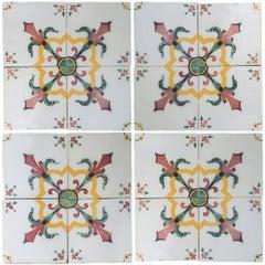1 of 52 Handmade Antique Ceramic Tiles by Devres, France, 1920s