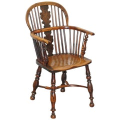 1 of 6 Burr Yew Wood & Elm Windsor Armchairs circa 1860 English Country House