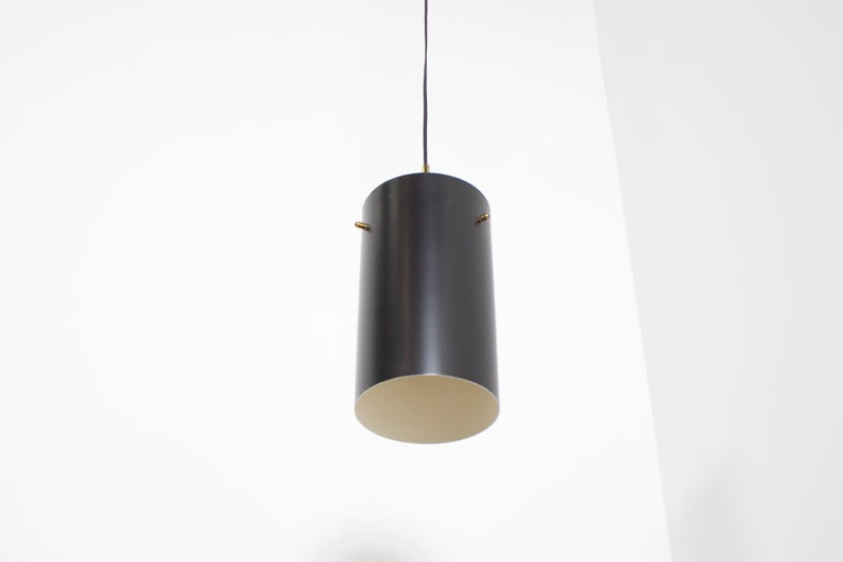 Italian 1 of 6 Cylindrical Metal and Brass Stilnovo Pendants, Italy, 1950s  For Sale