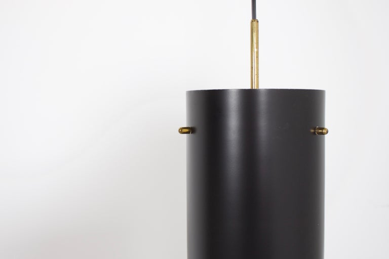 20th Century 1 of 6 Cylindrical Metal and Brass Stilnovo Pendants, Italy, 1950s  For Sale