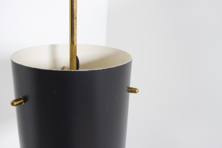 1 of 6 Cylindrical Metal and Brass Stilnovo Pendants, Italy, 1950s  For Sale 1