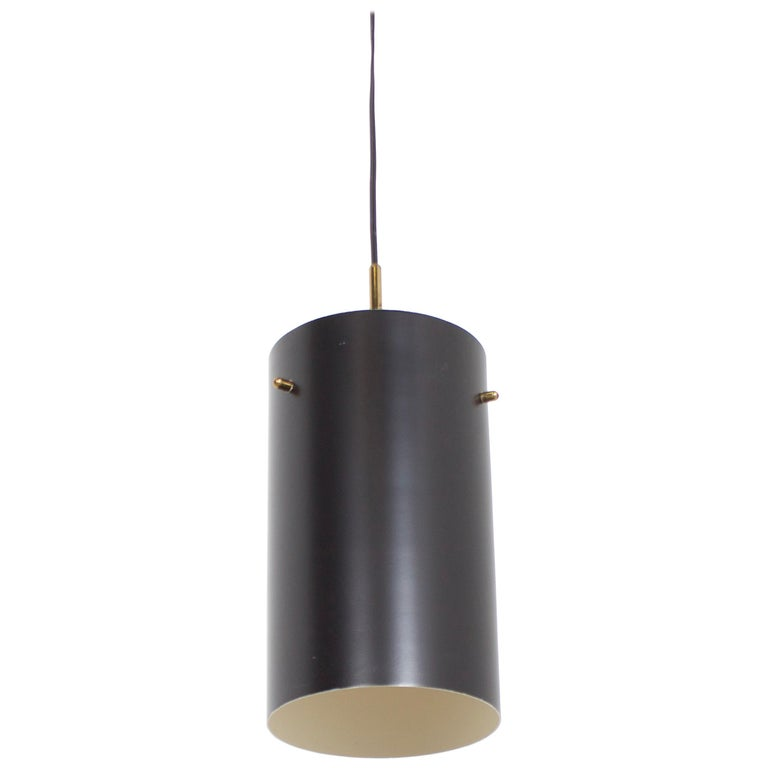 1 of 6 Cylindrical Metal and Brass Stilnovo Pendants, Italy, 1950s  For Sale