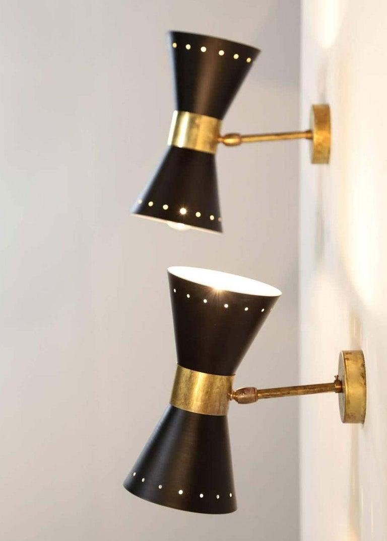 Metal 1 of 6 Italian Modern Design Wall Light Diabolo Sconce Stilnovo Style Brass 1950 For Sale