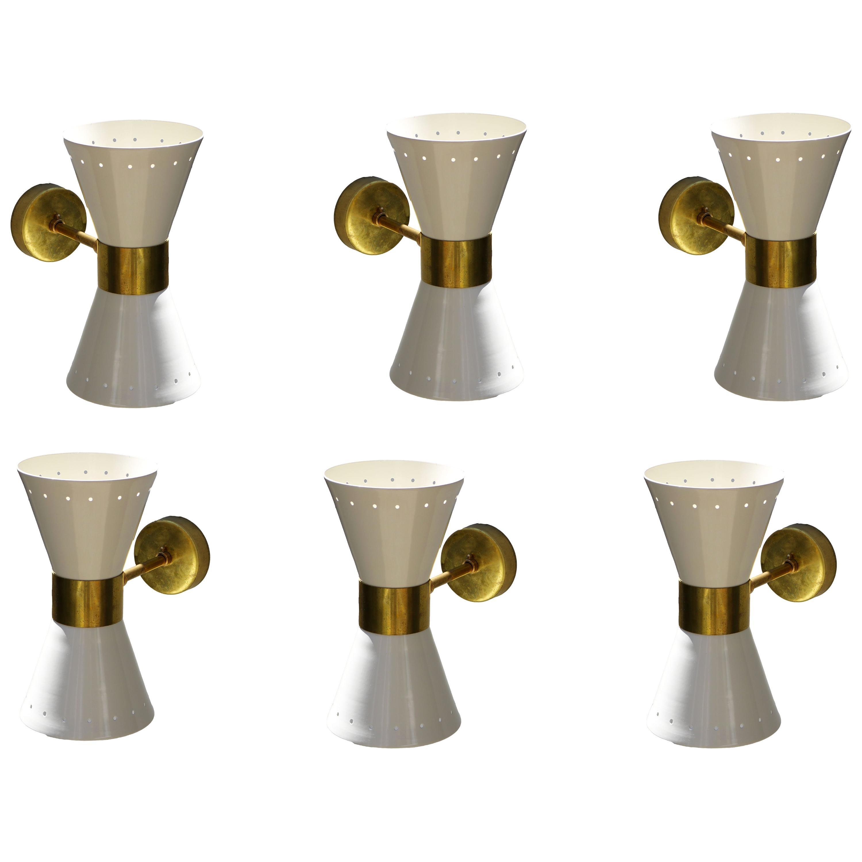 1 of 6 Italian Modern Design Wall Light Sconces Stilnovo Style Ivory White Brass