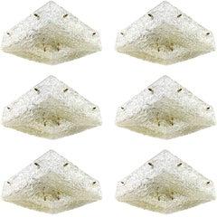 1 von 6 quadratischen Kalmar Unterputzmontage Leuchten, Messing strukturiertes Glas, 1960