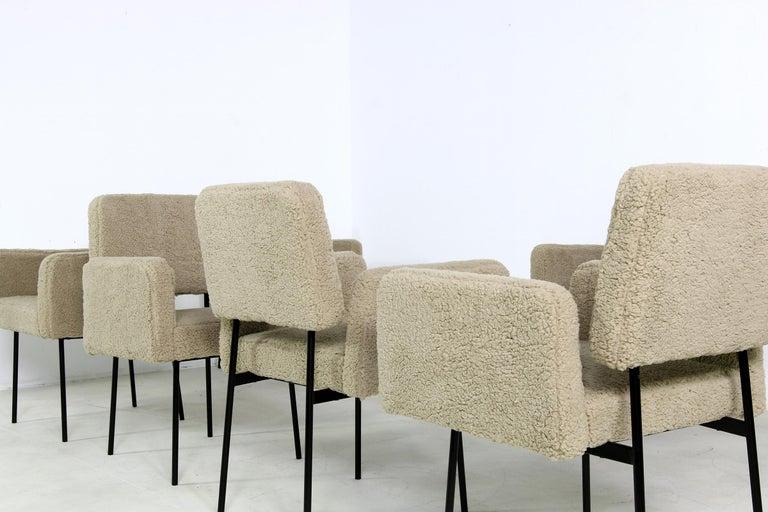 1 of 8 Dining Room Chairs, Armchair Nathan Lindberg Teddy Bear Fur, Metal Base For Sale 1