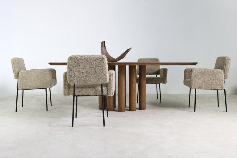 1 of 8 Dining Room Chairs, Armchair Nathan Lindberg Teddy Bear Fur, Metal Base For Sale 2