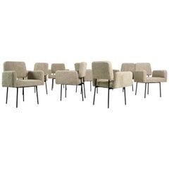 1 of 8 Dining Room Chairs, Armchair Nathan Lindberg Teddy Bear Fur, Metal Base