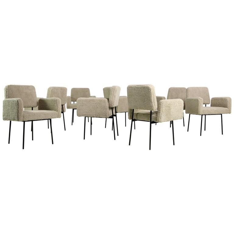 1 of 8 Dining Room Chairs, Armchair Nathan Lindberg Teddy Bear Fur, Metal Base For Sale
