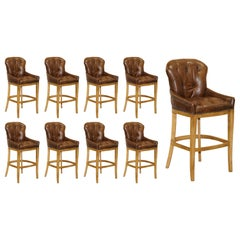 1 of 8 Hand Dyed Brown Leather Chesterfield Tufted High Bar Stools Oak Framed