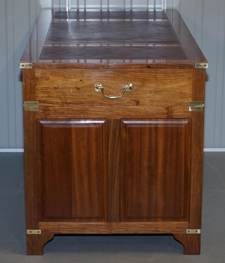 1 of a Kind Custom Made Philip Marcou No1 Military Campaign Desk Oxblood Leather For Sale 7