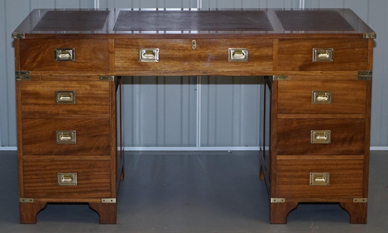 Australian 1 of a Kind Custom Made Philip Marcou No1 Military Campaign Desk Oxblood Leather For Sale