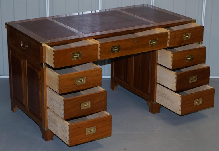 1 of a Kind Custom Made Philip Marcou No1 Military Campaign Desk Oxblood Leather In Good Condition For Sale In London, GB