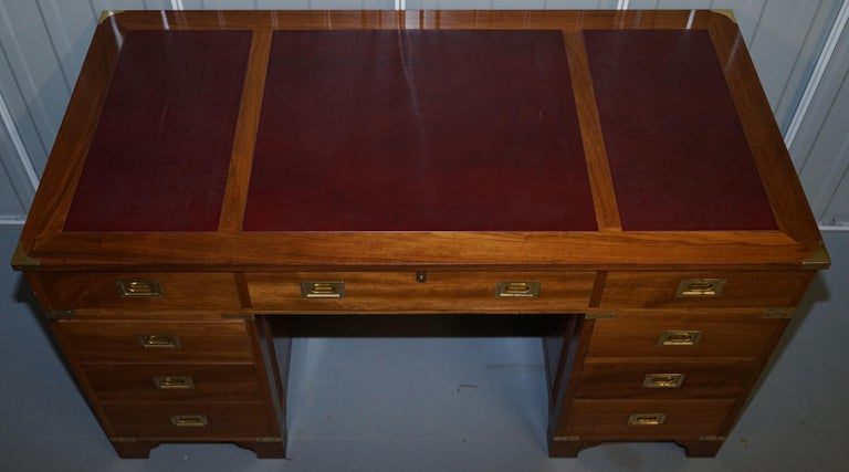 1 of a Kind Custom Made Philip Marcou No1 Military Campaign Desk Oxblood Leather For Sale 1