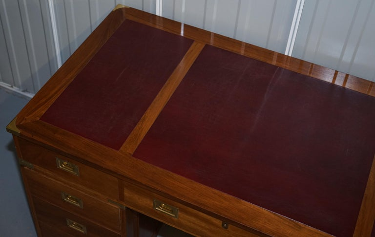 1 of a Kind Custom Made Philip Marcou No1 Military Campaign Desk Oxblood Leather For Sale 2