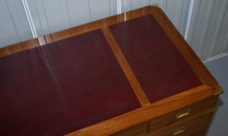 1 of a Kind Custom Made Philip Marcou No1 Military Campaign Desk Oxblood Leather For Sale 3