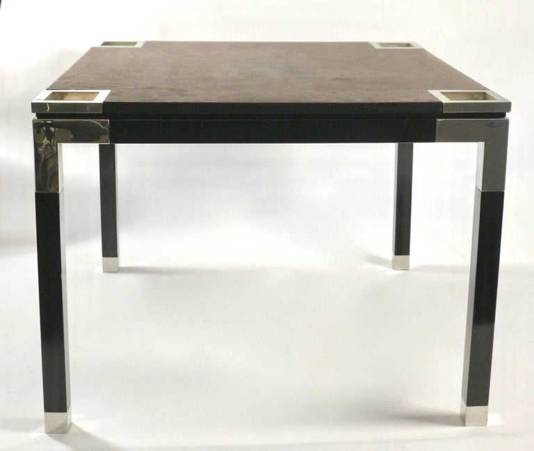 One of a kind game/centre table by Romeo Rega, 1970s, Suede, Chrome, Italy, 1970s fabulous and unique with Magnetized removable iron square, signed coasters. legs removable No other existing piece Extremely rare.  Romeo Rega was an Italian designer