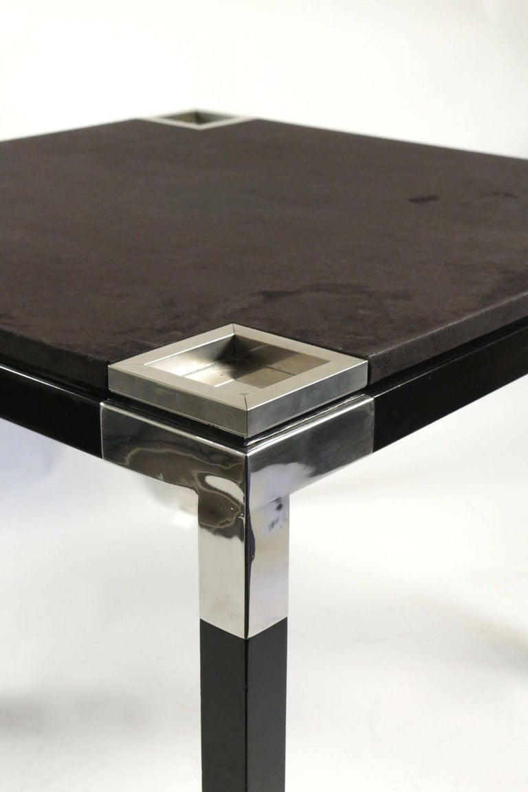 Italian One of a Kind Game/Centre Table by Romeo Rega, Suede, Chrome, Italy, 1970s For Sale