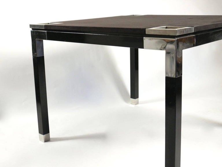 One of a Kind Game/Centre Table by Romeo Rega, Suede, Chrome, Italy, 1970s In Excellent Condition For Sale In Saint-Ouen, FR