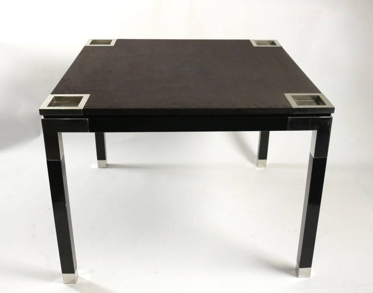 20th Century One of a Kind Game/Centre Table by Romeo Rega, Suede, Chrome, Italy, 1970s For Sale