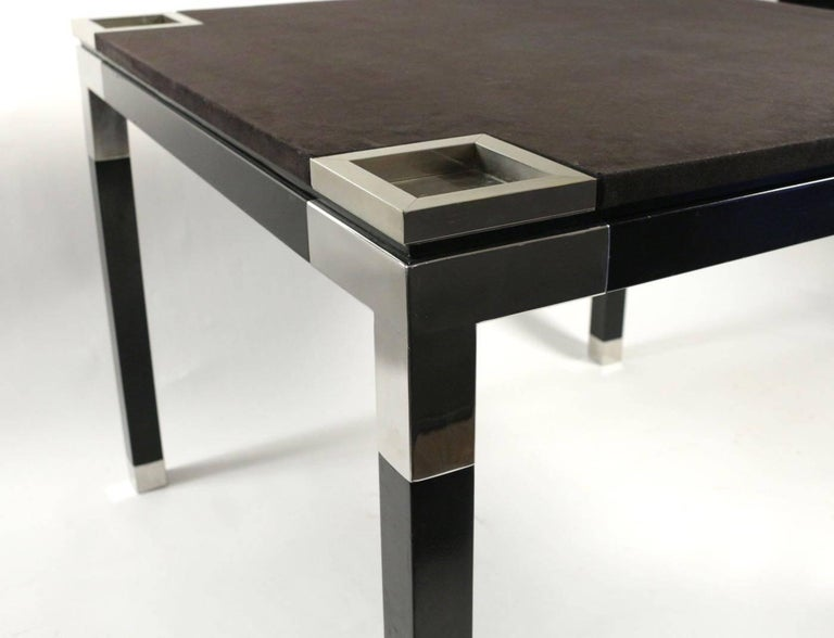 One of a Kind Game/Centre Table by Romeo Rega, Suede, Chrome, Italy, 1970s For Sale 2