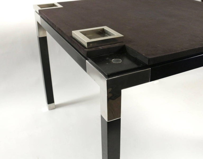 One of a Kind Game/Centre Table by Romeo Rega, Suede, Chrome, Italy, 1970s For Sale 3