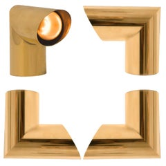 1 of the 10 Geometrical Brass Sconces by Nanda Vigo for Arredoluce, Italy, 1970
