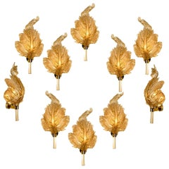 1 of the 10 Large Wall Sconces Barovier & Toso Gold Glass Murano, Italy, 1950