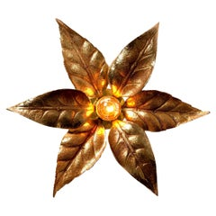 1 of the 10 Massive Brass Flower Wall Lights, Willy Daro Style, 1970s