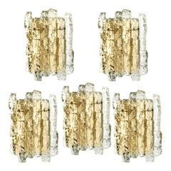 1 of the 11 Ice Glass Wall Sconces with Brass Tone by J.T. Kalmar, Austria