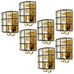 1 of the 11 of Iron and Bubble Glass Sconces Wall Lamps by Limburg Germany, 1960